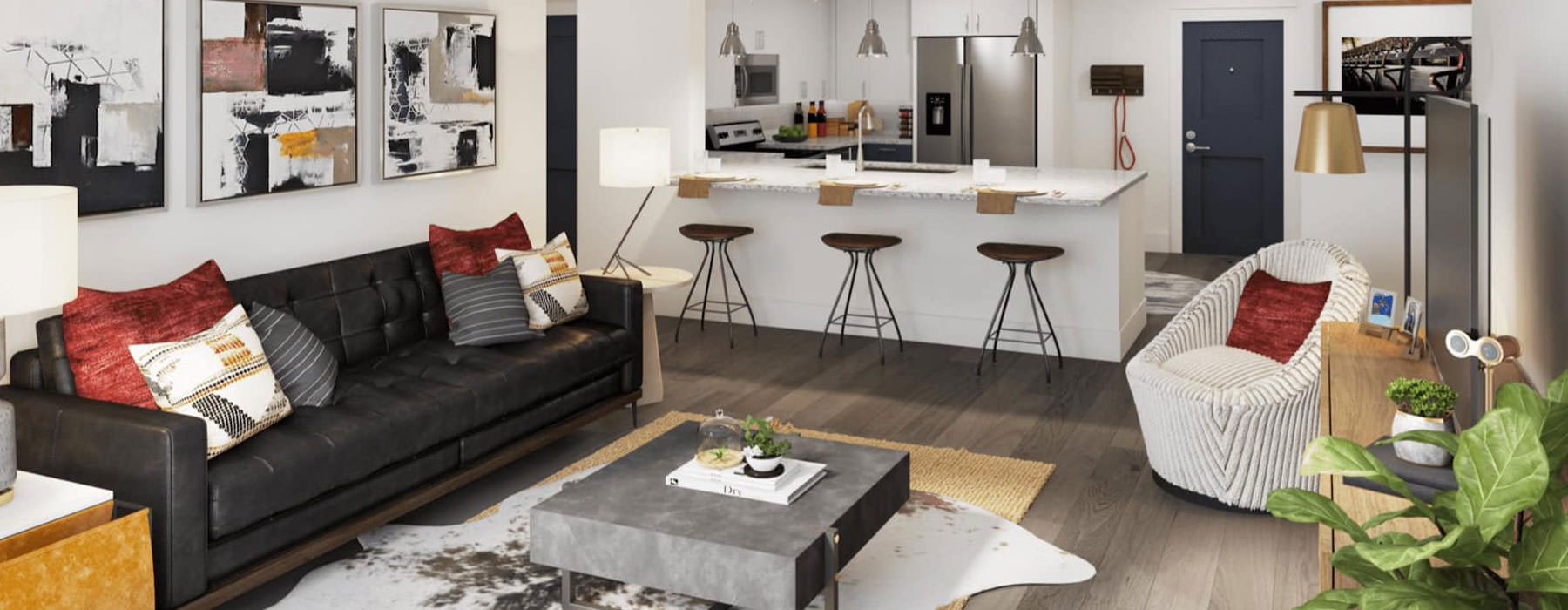 spacious living area with modern decor and with easy access to the kitchen