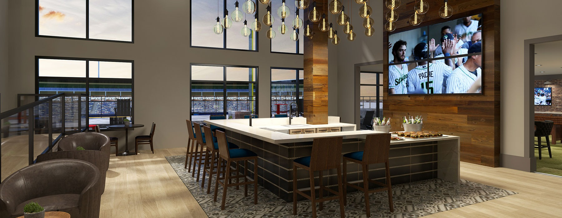 rendering of clubroom showing spacious areas, TVs, and views of stadium